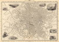 Vintage Map of Birmingham England (1851)