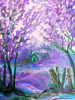 Purple Abstract Landscape with Trees