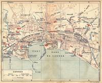 Vintage Map of Cannes France (1921)