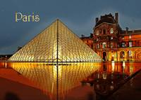 Night at the Louvre Museum Paris France TEXT PARIS