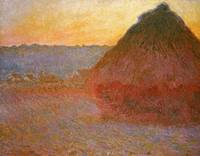 CLAUDE MONET - HAYSTACKS, PINK AND BLUE IMPRESSION