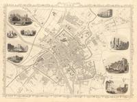 Vintage Map of York England (1851)