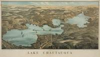 Vintage Pictorial Map of Lake Chautauqua NY (1885)