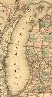 Vintage Map of Lake Michigan (1876)