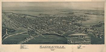 Vintage Pictorial Map of Gainesville TX (1891)