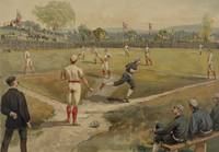 Vintage Painting of a Baseball Game (1887)