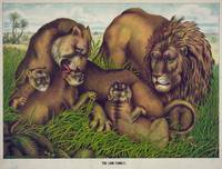 Vintage Illustration of a Lion Family (1874)