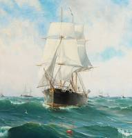 Vintage Swedish Sailboat Painting (1887)