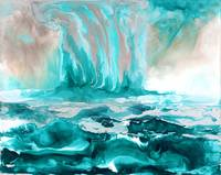 Ocean art turquoise contemporary seascape painting