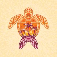 Tropical Sunset Sea Turtle Design