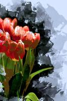Abstract Bunch of Red Orange Tulips