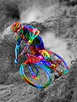 Technicolor Mountain Biker Racing Down the Trail