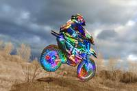 Screaming Colored Dirt Bike and Rider with Subdued