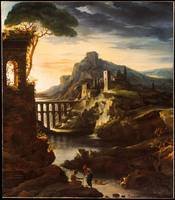 Evening Landscape with an Aqueduct Artist Théodore