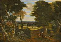 Jacques D' Arthois, WOODED LANDSCAPE WITH SHEPHERD