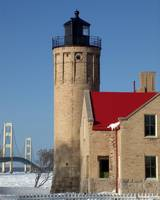 Winter Mackinac Light and Bridge