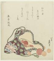 Beads of quartz with a bag of brocade, Katsushika