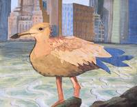 Juvenile Seagull with Cityscape