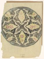 Design for a plate with floral decoration, Carel A