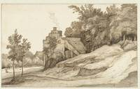 Farm with stepped gable at the edge of a forest, J