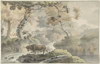 Forest landscape with bull, Christiaan Josi, after
