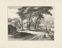 Forest landscape with farms, Johannes Gronsveld, a