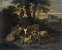Italian Landscape with Shepherdess and Flocks, Sim