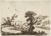 Landscape with figures and in the foreground a lar