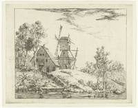 Landscape with farm and mill in Holstein, Dirk Vis