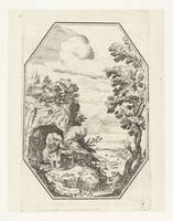 Landscape with farm in octagonal framework, Paul B