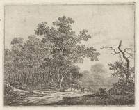 Landscape with oak and cattle, Johannes Christiaan