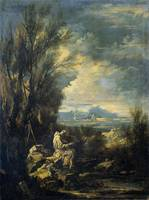 Landscape with Saint Bruno , Alessandro Magnasco,
