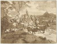 Landscape with shepherds and cattle, Christiaan Jo