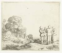 Landscape with three farmers and a peasant woman,