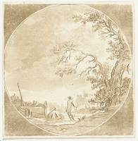 Landscape with two hikers, Anthonie van den Bos, a