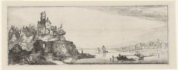 River landscape with castle, Jan van de Velde (II)