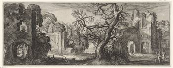 Tree between ruins, Jan van de Velde (II), 1615
