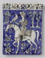 Tile with a horsemen and a falcon in relief, anony