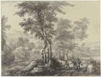 Woody landscape with travelers, Christiaan Josi, a