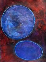 Blue Circles Red Background