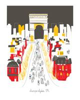 Champs Elysees Modern Cityscape Illustration
