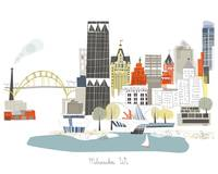 Milwaukee Modern Cityscape Illustration