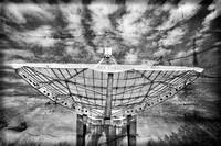 Radiotelescope focus to the sky in grunge style