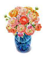 Ranunculus Flower Bouquet In Blue Vase Watercolor