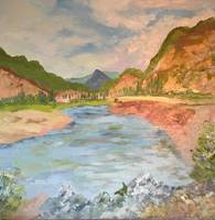 MOUNTAIN VALLEY  WITH RIVER - 34 X 34 -