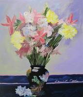 FLORAL WITH BLACK VASE - 20 X 24 - oil on canvas