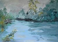 RIVER AT EVENING - 18 X 24 - OIL ON BOARD