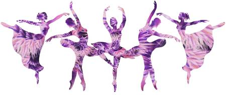Purple Ballerinas Dance Watercolor Silhouettes