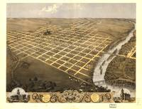 Bird's Eye View of Topeka, Kansas (1869)