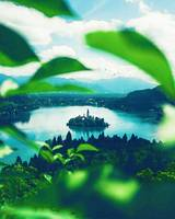 Lake Bled, Bled, Slovenia in watercolor